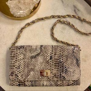 Leather Elliot Lucca snake print bag